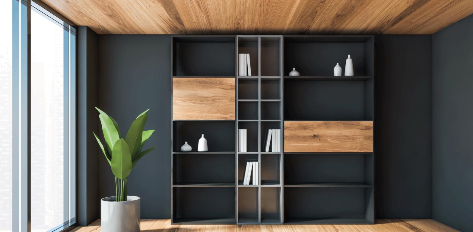 bibliothèque style industriel bois et noir