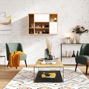 meuble haut suspendu bois et blanc