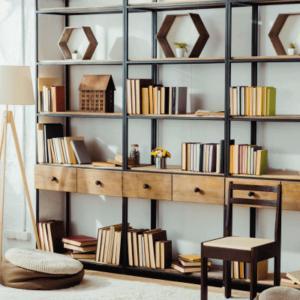 bibliothèque vintage bois et métal noir