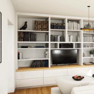 grande bibliothèque sur mesure avec meuble tv