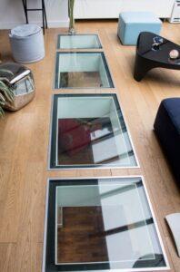 Mezzanine avec plaques de verres