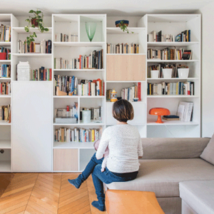 mobibam grande bibliothèque sur mesure blanc et bois