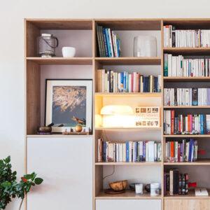 bibliothèque sur mesure blanc premium bois