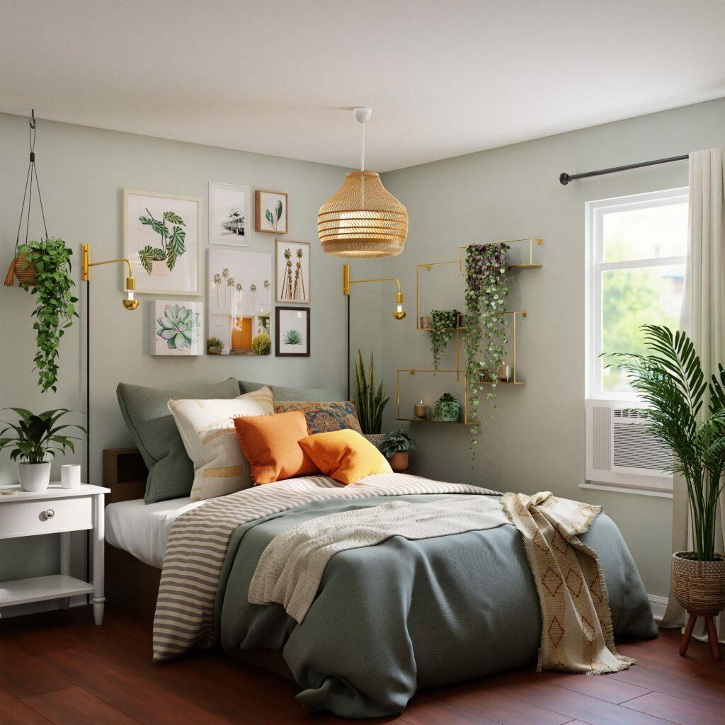 plantes vertes chambre décoration