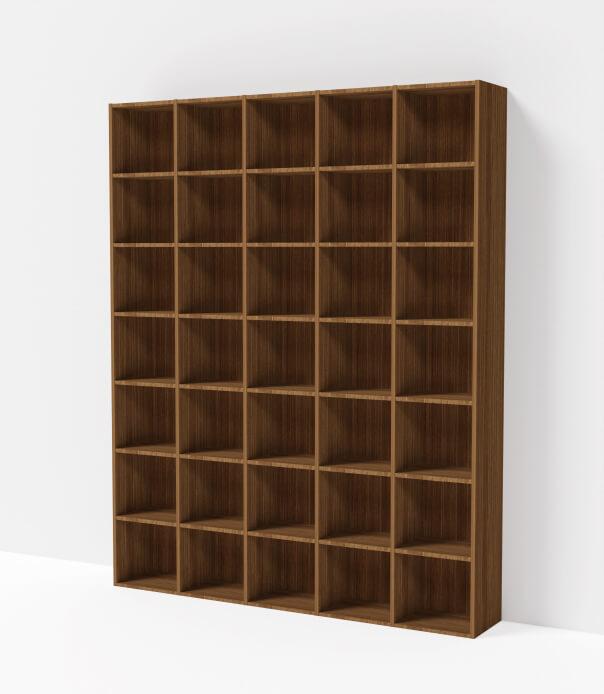 bibliothèque sur mesure bois foncé