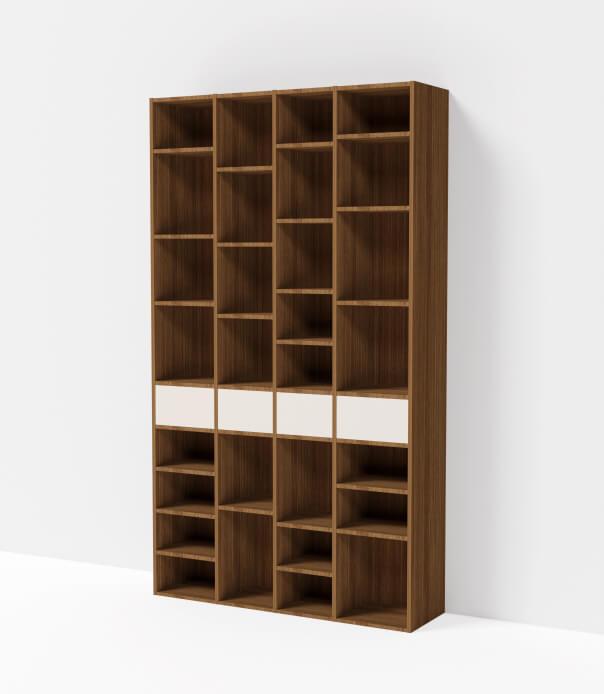 bibliothèque sur mesure bois foncé blanc