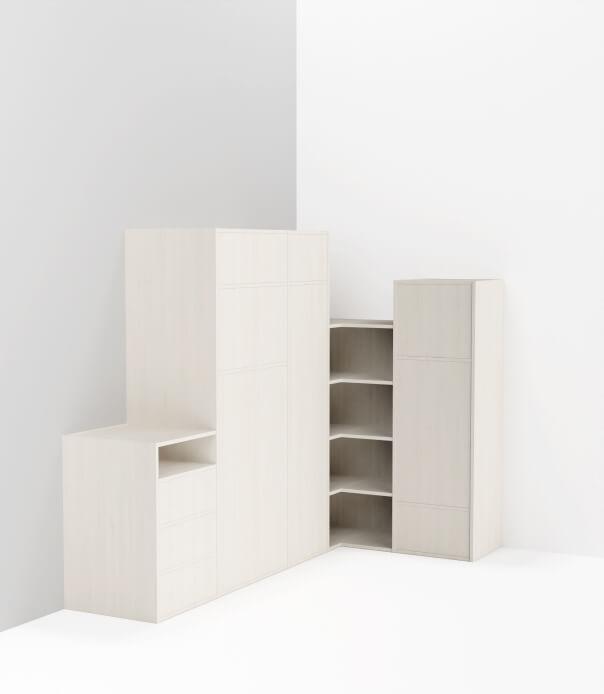 meuble en angle sur mesure blanc