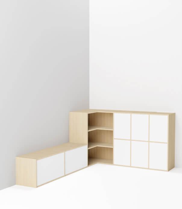 meuble bas en angle sur mesure bois blanc