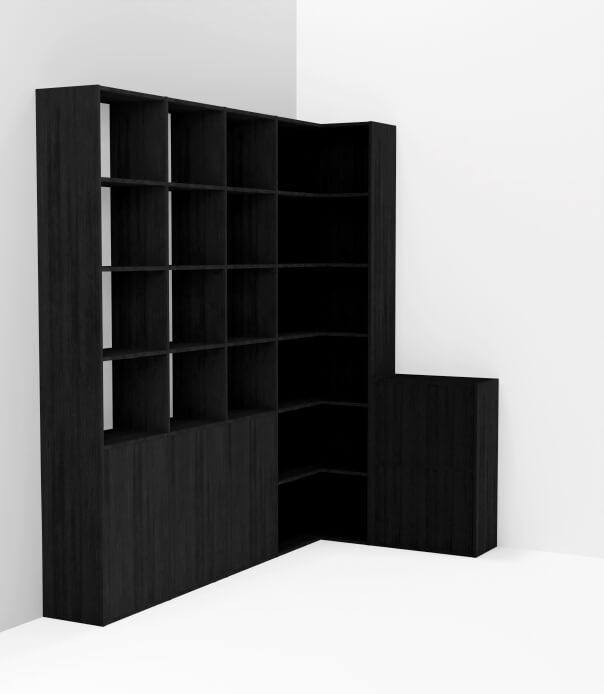 meuble angle noir sur mesure bibliothèque dressing