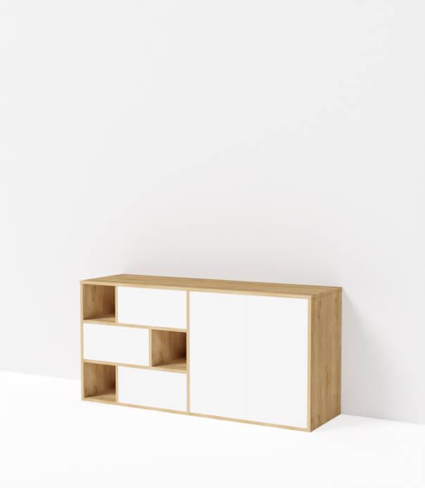 buffet bas sur mesure blanc bois mobilier