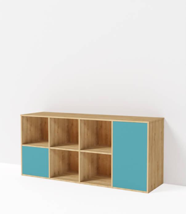meuble bas sur mesure vert niagara bois