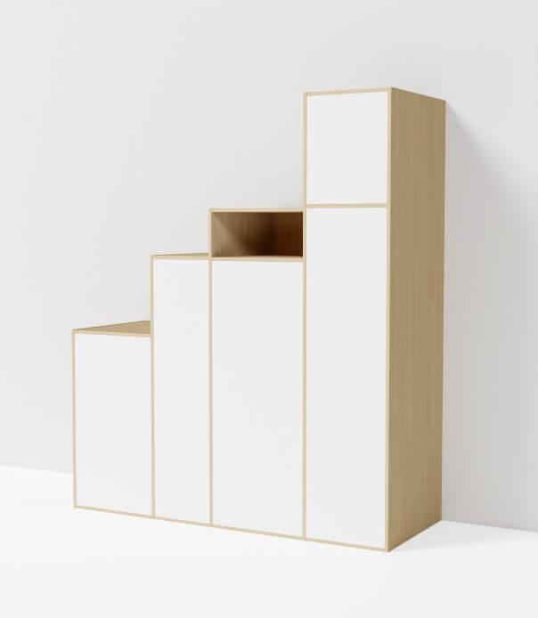 meuble sous escalier bibliothèque sur mesure bois blanc