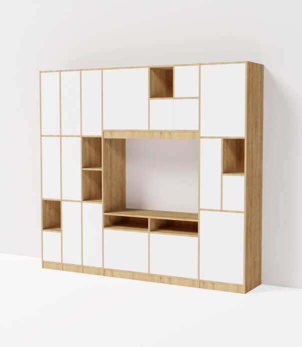 grand meuble tv hifi sur mesure blanc bois