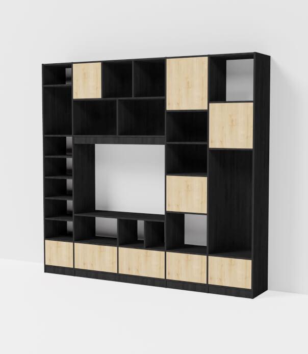 meuble tv sur mesure bois noir
