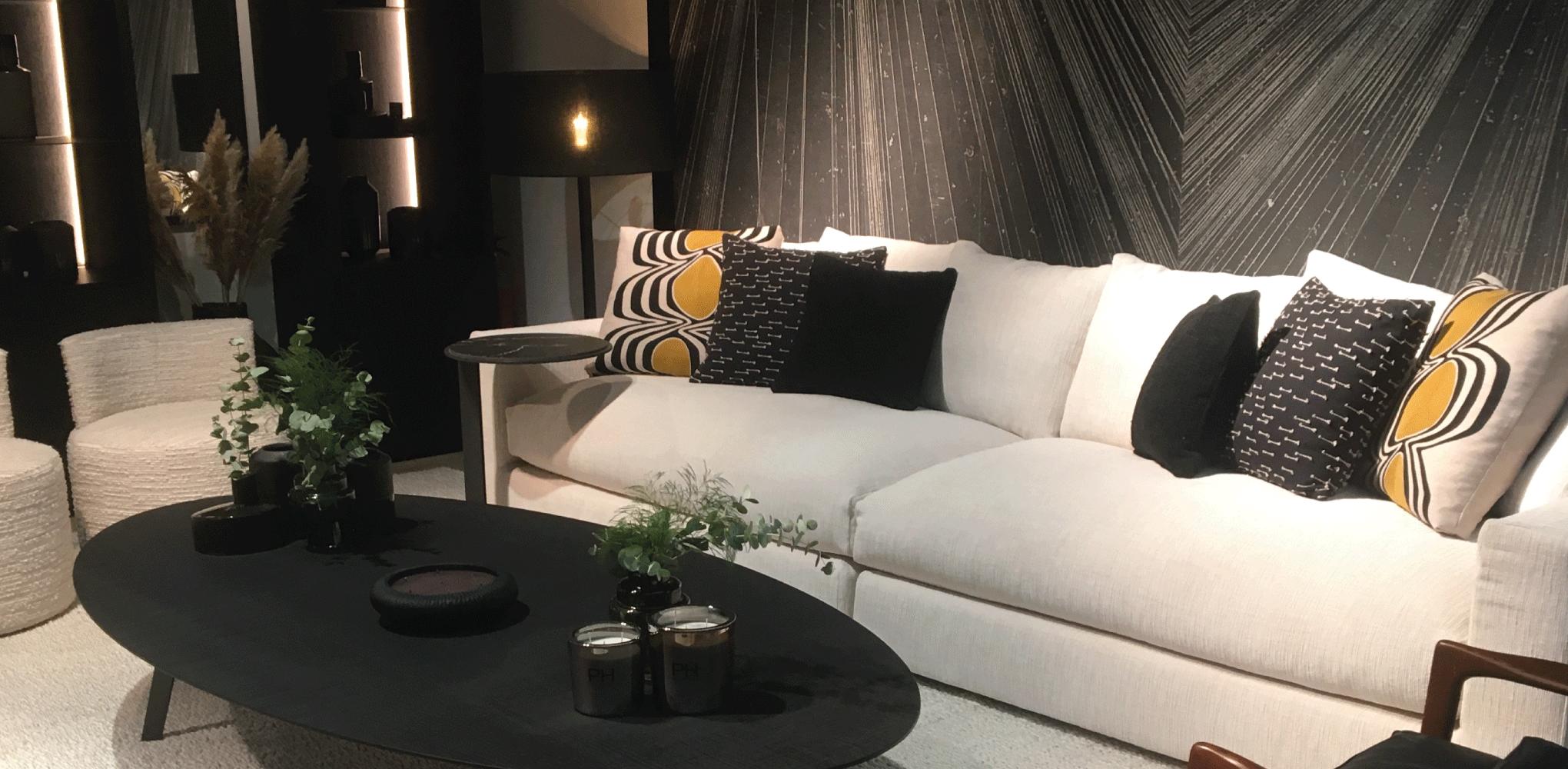 salon moderne tendance noir et jaune